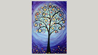 Whimsical Tree Acrylic Painting Demo | EASY painting tutorial