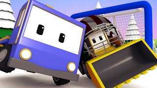 Tiny Trucks - Kids Animation with Street Vehicles Bulldozer, Excavator & Crane