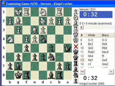 Chess World.net: Blitz #126 vs. Iversen (1931) - Closed Sicilian - Prophylaxis, Q-side expansion