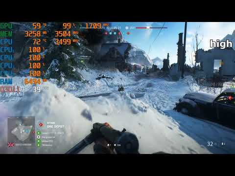 Intel Core i3-4150 \ GeForce GTX 1050 Ti \ Battlefield V \ all presets tested @1080p