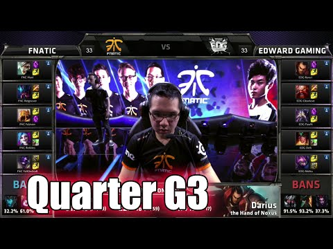 Fnatic vs Edward Gaming | Game 3 Quarter Finals LoL S5 World Championship 2015 | FNC vs EDG G3