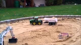 Part 2 - Building of a rain retention reservoir with RC construction machines!