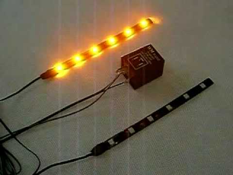 Amber flashing LED strip with flasher relay for turn signal Video