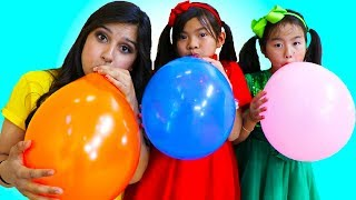 Emma & Jannie Pretend Play Fun Playtime with Magic Color Balloons