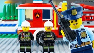 LEGO City Fire Truck STOP MOTION LEGO Fire Truck Rescue Brick Building | LEGO City | By Billy Bricks