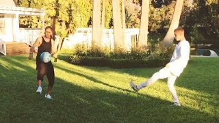 Justin Bieber Plays Keepy-Uppys With Neymar In His Back Garden