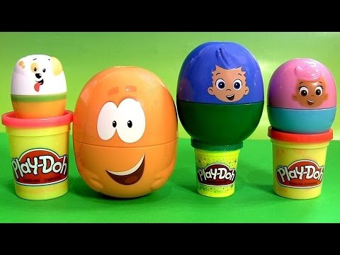 Play Doh Bubble Guppies Surprise Eggs Stacking Cups Pocoyo Disney Frozen Hellokitty Kinder Playdough video