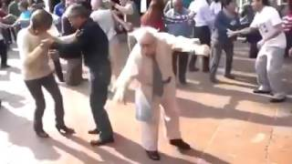 Amazing old man dancing like an alien