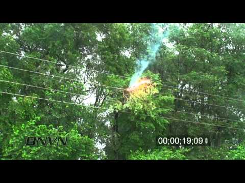6/25/2010 Debris shorting out power lines footage