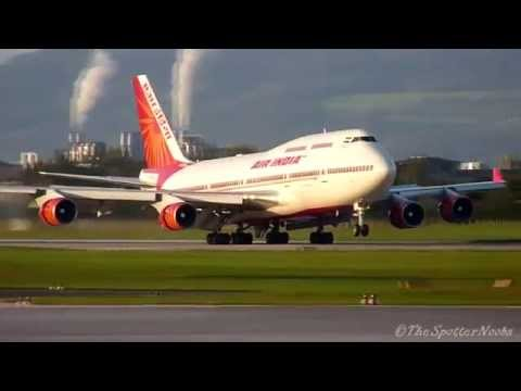 Indias President landing at Salzburg with a 747-400 Air India [06.10.2011]