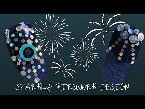 Sparkly Firework Nail Design