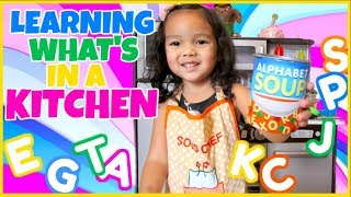 Learning Words, Food, and Colors in the Kitchen! Pretend Play