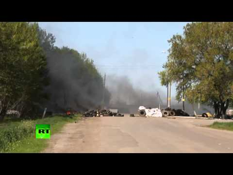 Video: Slavyansk checkpoint attack aftermath, Kiev forces leaving scene