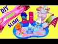 DIY Make Trolls Movie Poppy Pink and Branch Blue FLUFFY Slime Pool Party