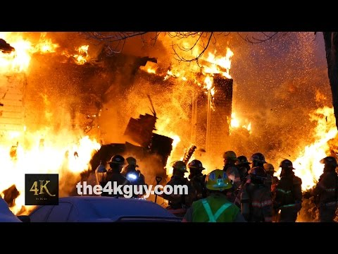 Close call: Firefighter narrowly escapes collapse
