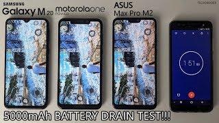 EXTREME 5000mAh BATTERY DRAIN TEST - Samsung Galaxy M20 vs Motorola One Power vs Asus Max Pro M2!!!