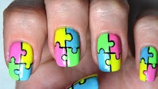 Neon Puzzle Nail Art Tutorial