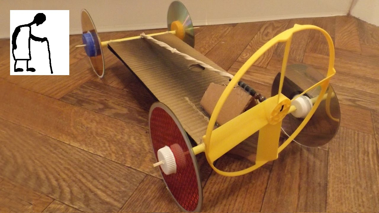 Rubber Band Powered Fan Driven Car - YouTube