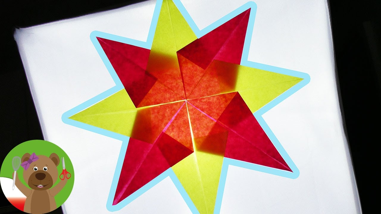 Gwiazda adwentowa z papieru witrażowego | składanie i klejenie gwiazdy z papieru