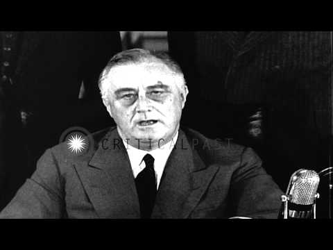 U.S. President Franklin D Roosevelt announces the first peacetime military draft ...HD Stock Footage