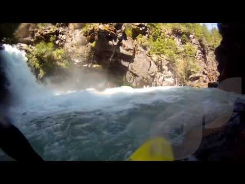 Kayaker saved just before swimming over a 60 foot waterfall!!