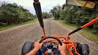 Driving a go kar..