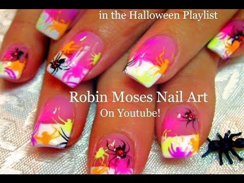 Nail Art Tutorials | DIY Easy Halloween Nail Art | Neon Spiders Design