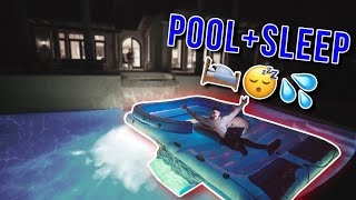 AIR MATTRESS ON POOL OVERNIGHT CHALLENGE
