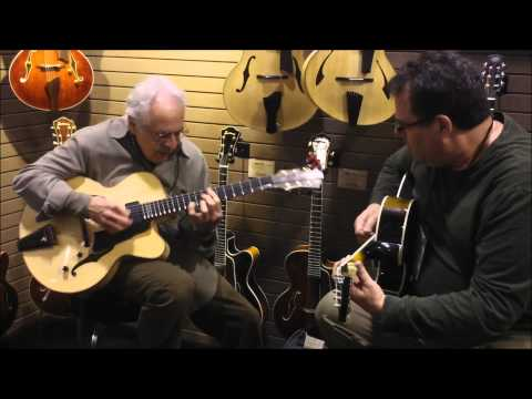 John Pisano and Jim Fox at Eastman Guitar Booth NAMM 2012