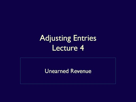 Adjusting Entries - Lecture 4 - Unearned Revenue