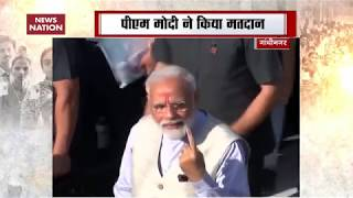 PM Narendra Modi casts his vote in Gandhinagar