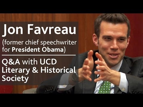 Jon Favreau - former chief speechwriter for President Obama |  Q&A with UCD L&H Society thumbnail