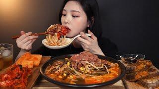 SUB)얼큰칼칼 육개장 칼국수에 밥까지 말아서 먹방(feat.메밀전병) 리얼사운드 yukgaejang mukbang hot spicy meat stew ASMR