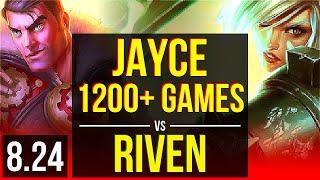 JAYCE vs RIVEN (TOP) | 1200+ games, KDA 10/0/4, Legendary | Korea Diamond | v8.24