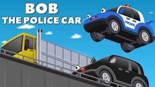 Bob The Police Car on a Mission to find a Missing Baby car w Red Super Car Cartoon for Kids