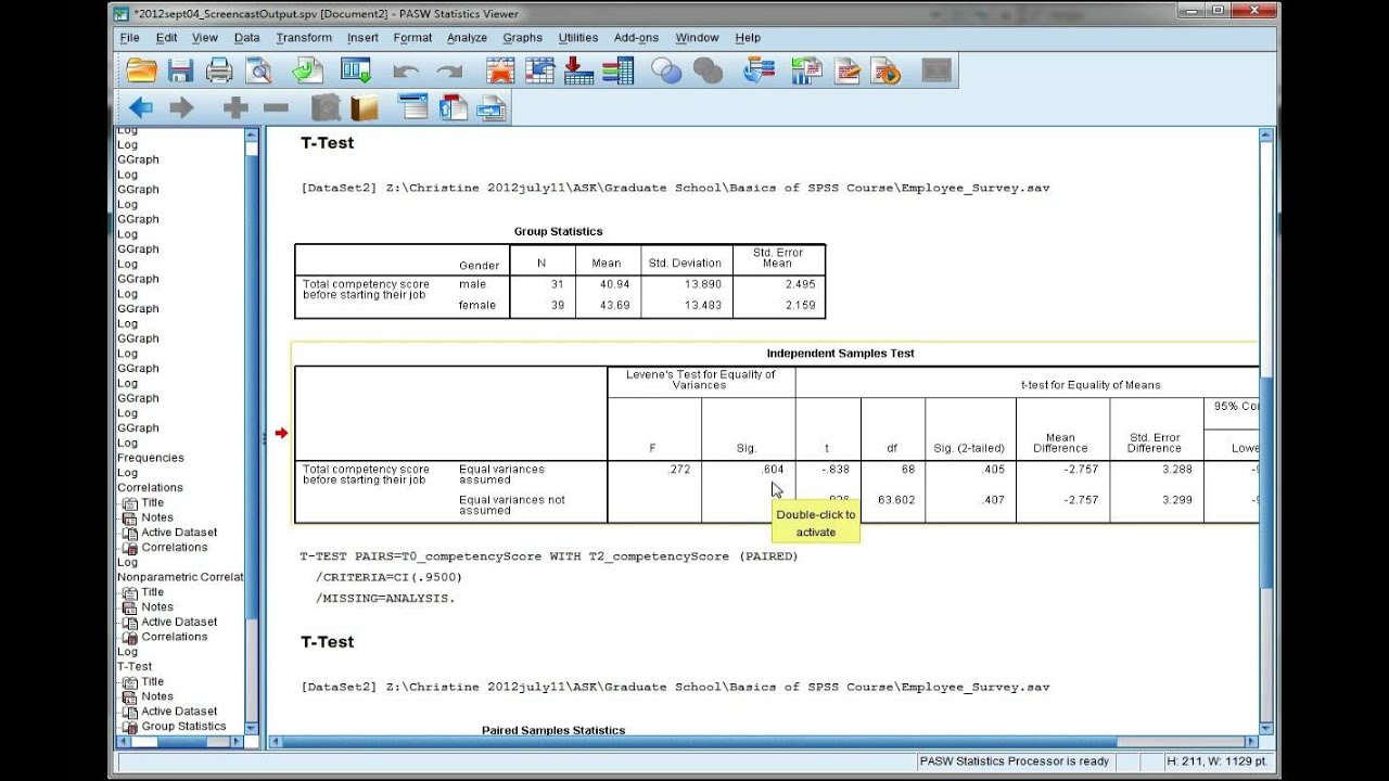 Interpret SPSS output for an independent t-test - YouTube