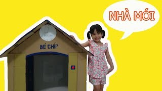 Bé Chip được Ba làm cho ngôi nhà bằng thùng giấy carton mini nhỏ nhỏ xinh xing - ChipKen TV