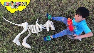 TREX SKELETON comes alive! Skyheart dinosaurs for kids toys action battle