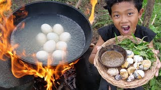 Survival Skills - Yummy cooking egg duck and eating delicious