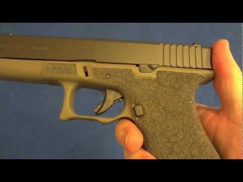 Glock 17 9mm with Full Grip Reduction. G-19 Grip Chop. Waffle Stippling. and Custom Cerakote