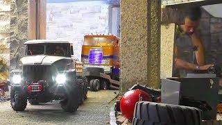 RC Truck loses Wheel! New Russian Ural 4320 with Low Loader first ride part 2