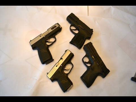 Compact 9mm pistol review  (tabletop review of the Kahr. Sig and S&W)