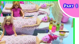 Barbie Miniature Spa Dollhouse [part 1]: Foam Slime Foot Bath + Hot Rock Massage | Rainbow Collector