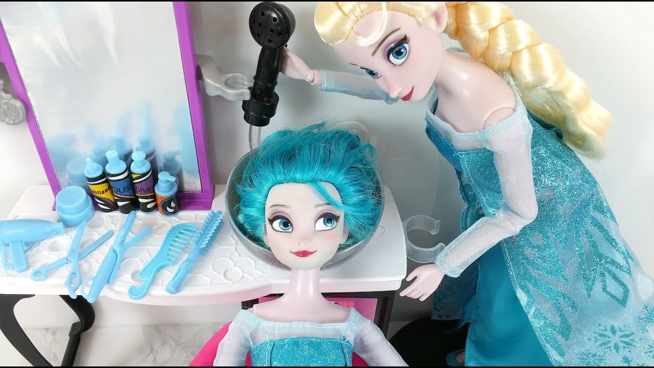 Frozen Elsa doll Hair Color Change HAIR DYE DIY Barbie Beauty Salon Boneca Elsa Novo Cor de Cabelo