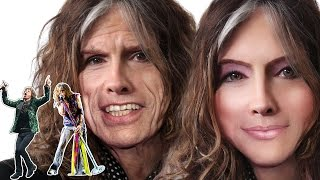 Transforming Steven tyler and mick jagger Into a hot girl - Photoshop