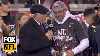 The San Francisco 49ers NFC Championship trophy ceremony | FOX NFL