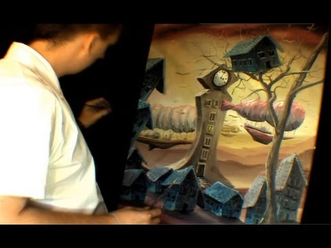 Speed Surrealism - Clock Tower Oil Painting by Jarduli
