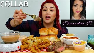 TEXAS ROADHOUSE STEAK , BUTTERY BREAD, QUITTIE QUE SAUCE | CLAUDIA C COLLAB