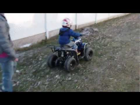 3 year old son riding 110cc atv for the first time