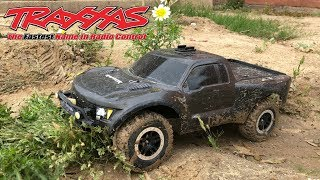 TRAXXAS FORD RAPTOR RC CAR TRUCK DRIFTING IN THE MUD AND RAIN ON ROAD OFF ROAD SPEEDING SOUND KIT